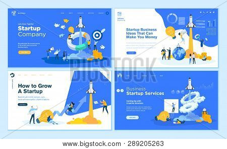 Set Of Flat Design Web Page Templates Of Startup Company, Business Ideas, Consulting, Crowdfunding.