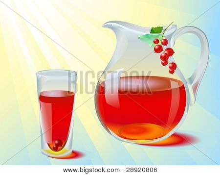 Juice of red currant in glass jug