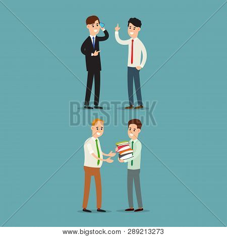 Businessman Communication. Businessman Transfers Paper Archive To An Employee. Businessman Talking O