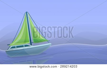 Sea Yacht Concept Banner. Cartoon Illustration Of Sea Yacht Concept Banner For Web Design