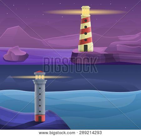 Lighthouse Coast Banner Set. Cartoon Illustration Of Lighthouse Coast Banner Set For Web Design