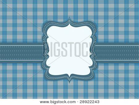 label on blue tile background