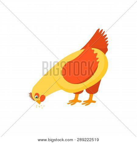 Cartoon Character Happy Hen Pecking Food. Vector
