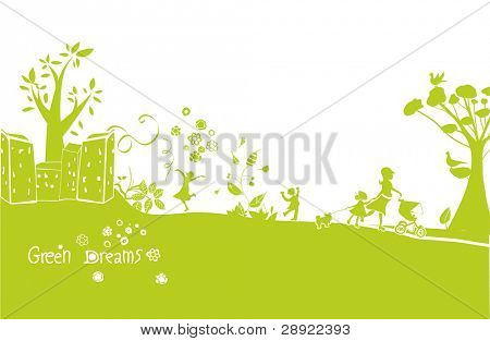 green dreams, a happy green landscape