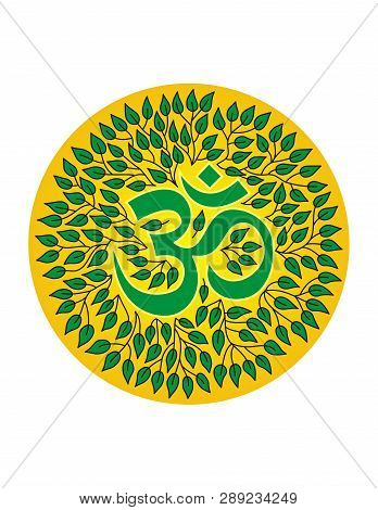 Mandala Of Leaves With The Sign Aum / Om / Ohm, Vector Graphics.