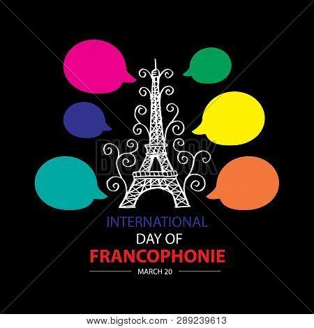 International Day Of Francophonie. March 20. Black Background.