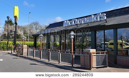 Harlow, England - 13 March 2019. The Mcdonalds Diner At The Staple Tye Shopping Centre, Showing Logo