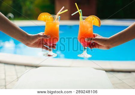 Bikini Women In Pool Relaxing With Juice, Young Beautiful Sexy Girls Resting In Vacation On Summer S