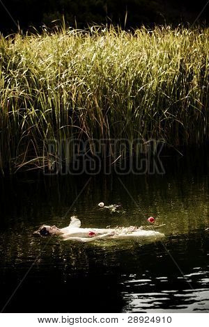 Young drown woman in a poetic representation. poster