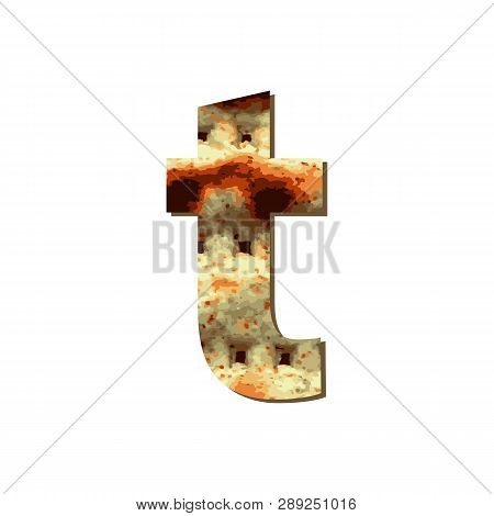 English Lowercase Letter T With Matza Texture. Font For Passover. Vector Illustration On Isolated Ba