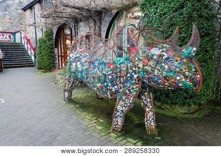 Betws Y Coed, Uk - Feb 2, 2019: Edith The Rhino Is A Community Art Project To Highlight The Plight O