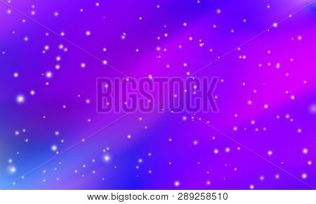Space, Galaxy Purple Blue Background With The Shiny Stars And Flare, Eternity And Infinity Pattern.