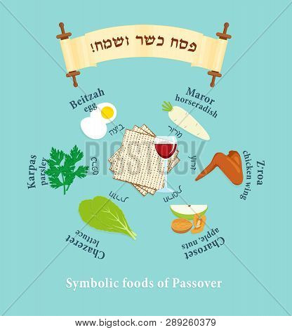 Passover Symbols Set, Symbolic Foods For Jewish Holiday Of Pesach With Names In Hebrew And English,