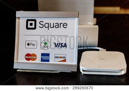 Indianapolis: Circa March 2019: Modern Mobile Credit Methods Including Square, Apple Pay, Android Pa