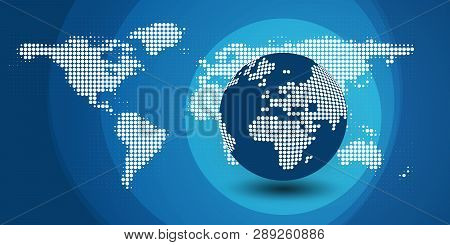 Spotted Earth Globe Design - Global Business, Technology, Globalization Concept - Wide Layout, Vecto
