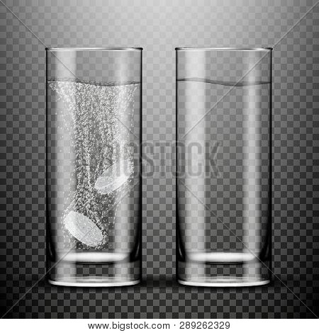 Vector Two Effervescent Tablets In Glass Of Water  Isolated On White Background