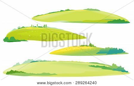 Set Of Four Green Meadows And Glades, Summer Countryside With Green Hills, Rural Landscape, Green Gr