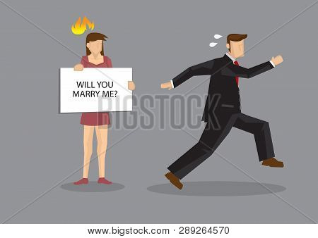 Cartoon Man Running Away From Woman Holding A Card Sign Saying, Will You Marry Me? Cartoon Vector Il