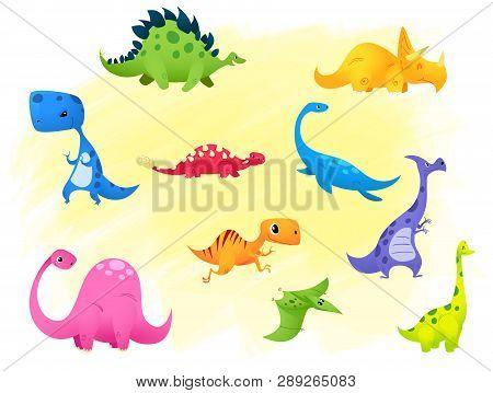 Set Jurassic Reptile Vector Illustration Cartoon Dinosaur. Brontosaurus, Stegosaurus, Triceratops, V