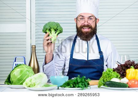 I Choose Only Healthy Ingredients. Man Cook Hat And Apron Hold Broccoli. Healthy Nutrition Concept.
