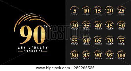 Set Of Anniversary Logotype. Golden Anniversary Celebration Emblem. Design For Company Profile, Book
