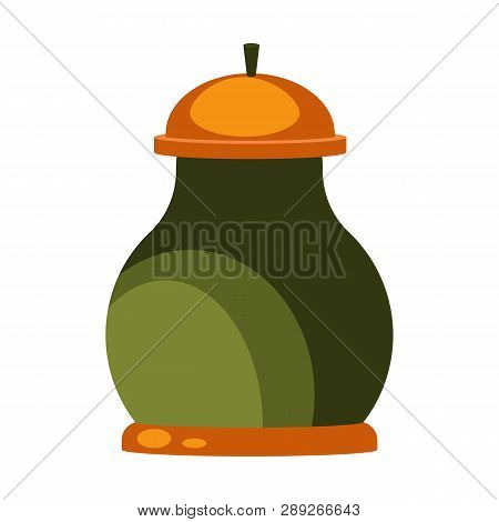 Green Clay Pot With Lid Flat Icon. Pottery, Ceramics, Dishware. Containers Concept. Vector Illustrat