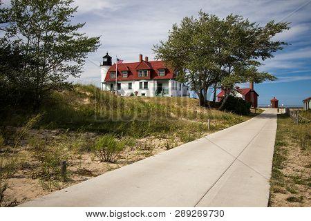 The Point Betsie Lighthouse On Lake Michigan. The Exterior Of The Historical Point Betsie Lighthouse
