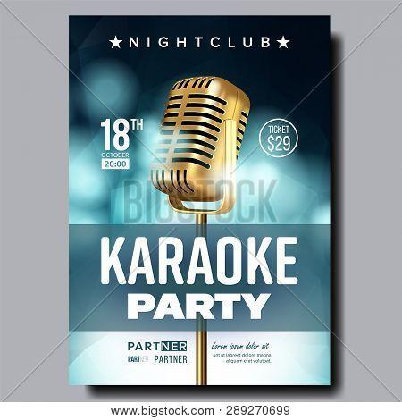 Karaoke Poster Vector. Retro Concert. Karaoke Club Background. Mic Design. Creative Layout. Audio El