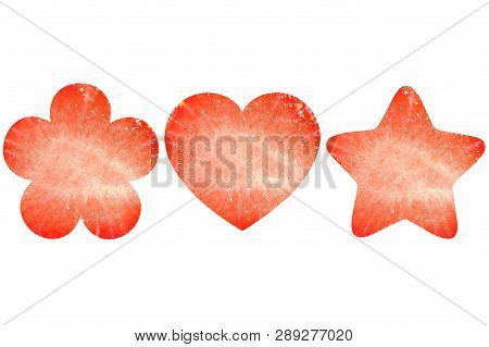 Flower, Heart And Star Shaped Strawberry On White Background