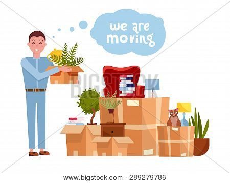 Vector Cartoon Illustration Of Loader Mover Man Carrying Box. Pile Of Stacked Cardboard Boxes With F