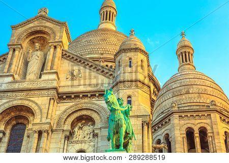 Detail Of Facade Of Sacred Heart Of Paris Church In France. Basilique Du Sacre-coeur De Montmartre,