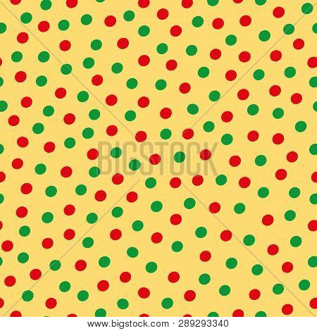 Green And Red Hand Drawn Scattered Polka Dot Pattern On Yellow Background. Seamless Vector Design Wi