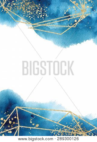 Watercolor Abstract Aquamarine, Background, Hand Drawn Watercolour Blue And Gold Texture Vector Illu