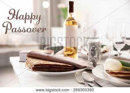 Festive Table Served For Pesach Seder. Happy Passover