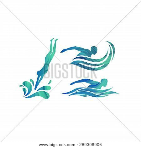 Vector Silhouettes Of Swimmers. Concept For Swimming Pools Logo, Competitions Icon And Symbol For Sw