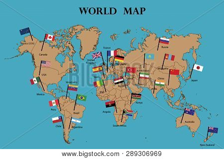 Map World Flags World Vector Photo Free Trial Bigstock