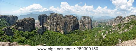 Panorama Of The Meteora Valley In Kalabaka, Trikala, Thessaly, Greece.