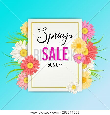 Spring Sale Banner. Hand Drawn Lettering. Background With Chamomile, Daisy, Leaf And Colorful Flower