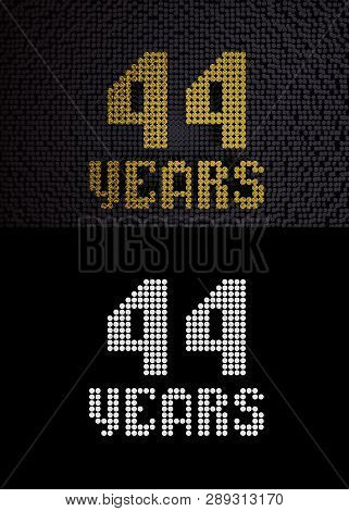 Golden Number Forty-four Years (number 44 Years) Dotted Font, Top View, With Dark Zero And One Backg