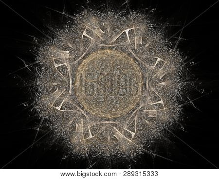 Abstract Fractal Color Background With Crossing Circles And Oval. Motion Illustration.
