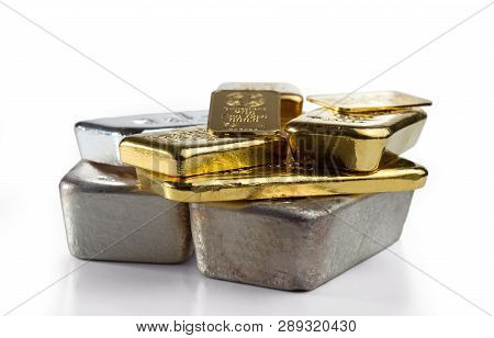 Several Different Gold And Silver Bullion. Isolated On White Background.