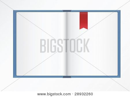 empty open book with red bookmark on light background