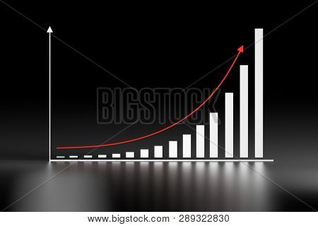Illustration With Exponential Growth Chart And Red Arrow On Dark Black Background. 3d Illustration.
