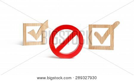Red No Or Prohibition Sign. Wooden Check Marks On The Background. The Concept Of Permits And Prohibi