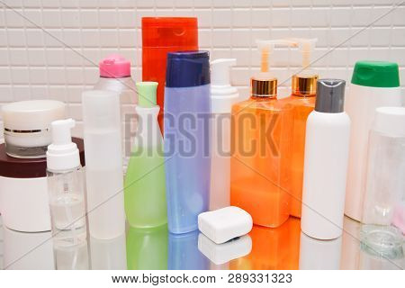 Cosmetics, Moisturizer, Bottle. Different Cosmetic Bottles On Background. Set Cosmetic Products. Cos