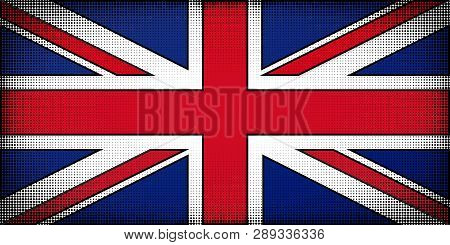 Flag Of United Kingdom Of Great Britain And Northern Ireland. Comic Book Cartoon Style. Halftones, P