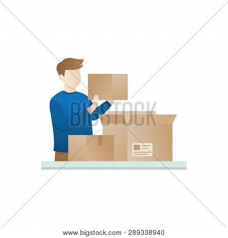 Young Man Open The Package