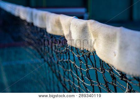Tennis Net Photo. Black And White Net Of Tennis Court Closeup. Sport Field Divider. Sport Competitor
