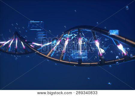 3d Render Illustration Of Dna. Dna Model On A Dark Blue Background. Futuristic Image. Scientific Res