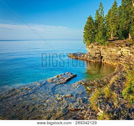 Rocky Coastline At Cave Point On Lake Michigan